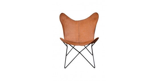 Goldish Leather Butterfly Chair