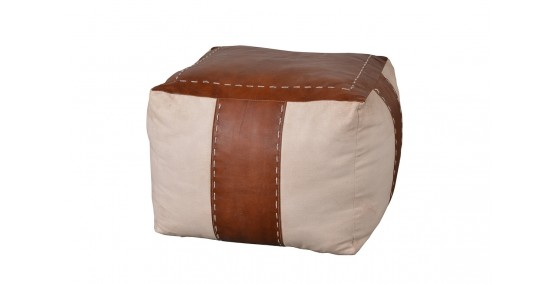 Betty Leather Canvas Puff