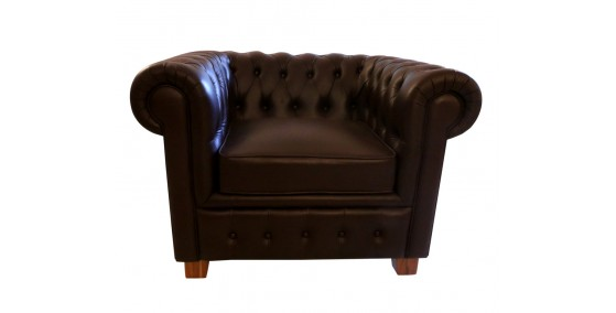 Sebastian Leather Single Seater Chesterfield sofa