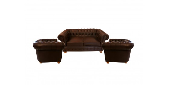 Sebastian Leather Chesterfield Sofa Set